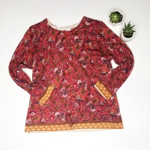 Garnet Hill Bundle M Merino Wool Floral Cardigan